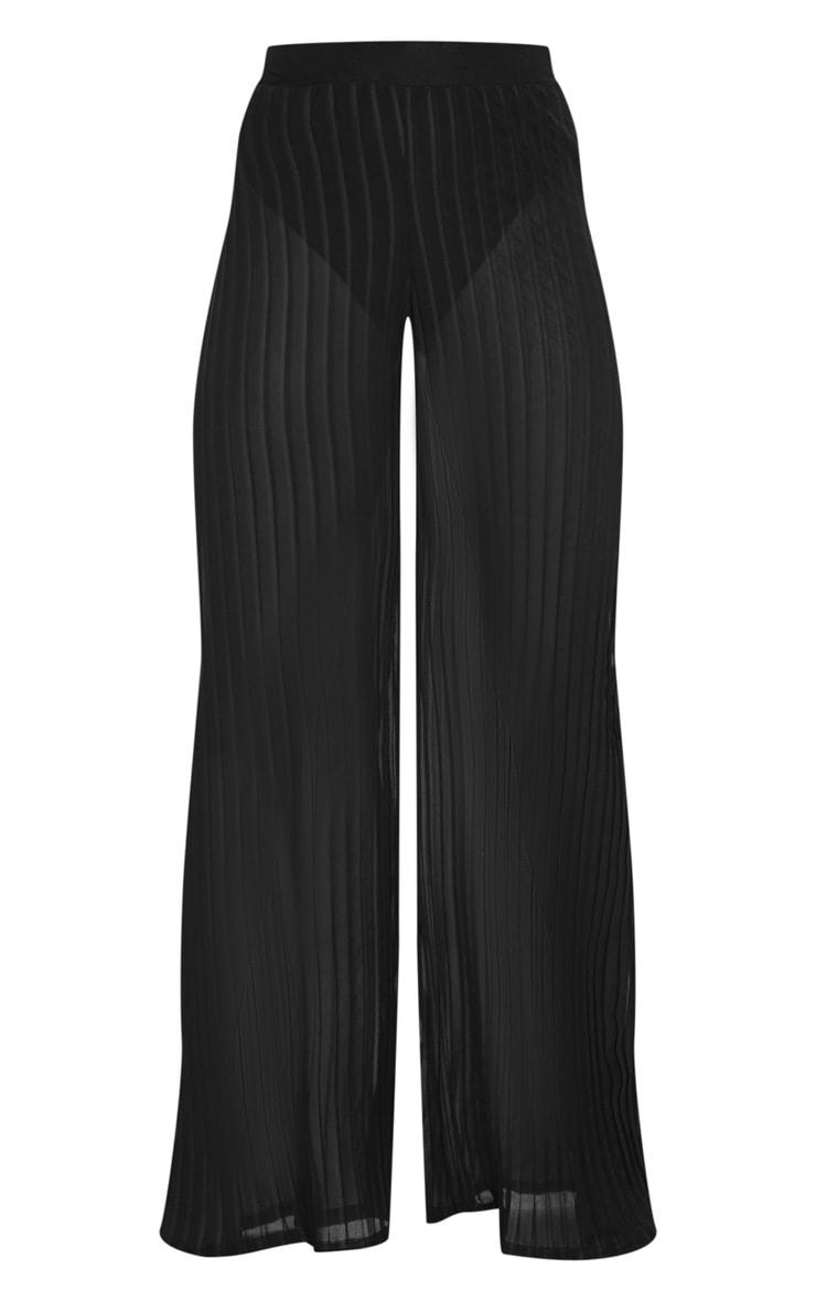 Black Sheer Pleated Wide Leg Trouser 3
