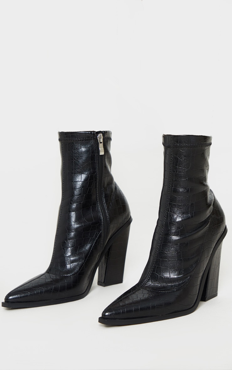 Black Croc Point Toe Block Heel Ankle Boot 3