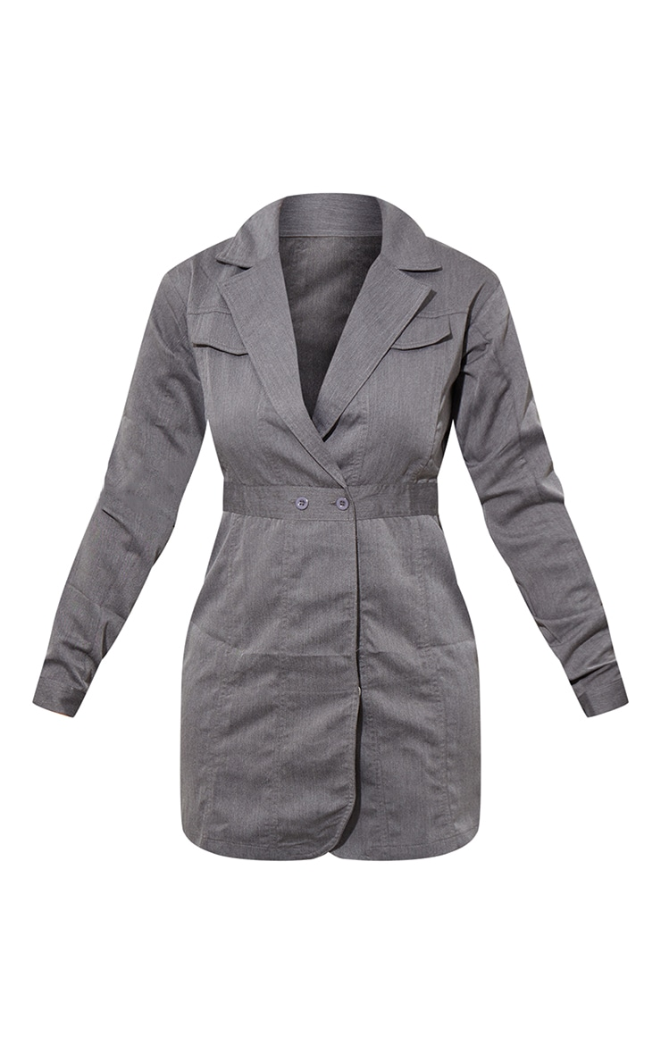 Grey Woven Binding Button Detail Blazer Dress 5