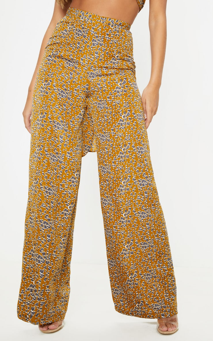 Mustard Leopard Print Wide Leg Pants 2