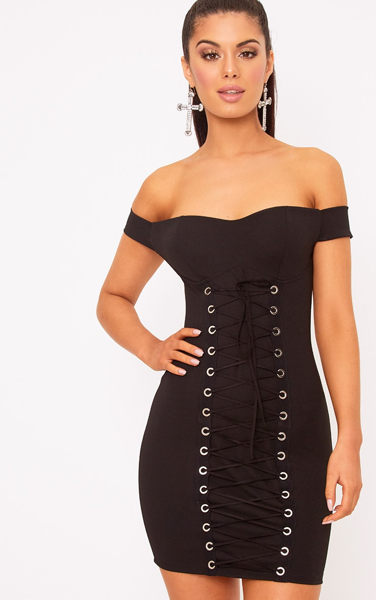 Black Eyelet Lace Up Bardot Bodycon Dress 1