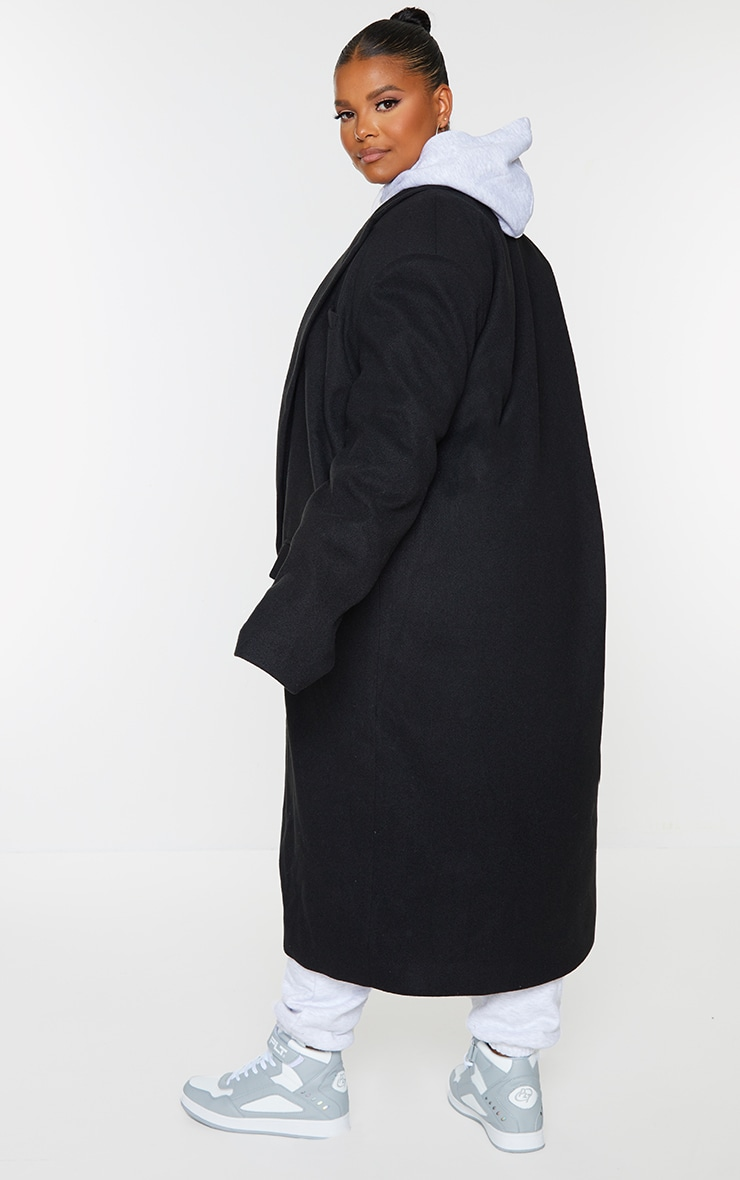 Plus Black Oversized Shoulder Padded Coat 2