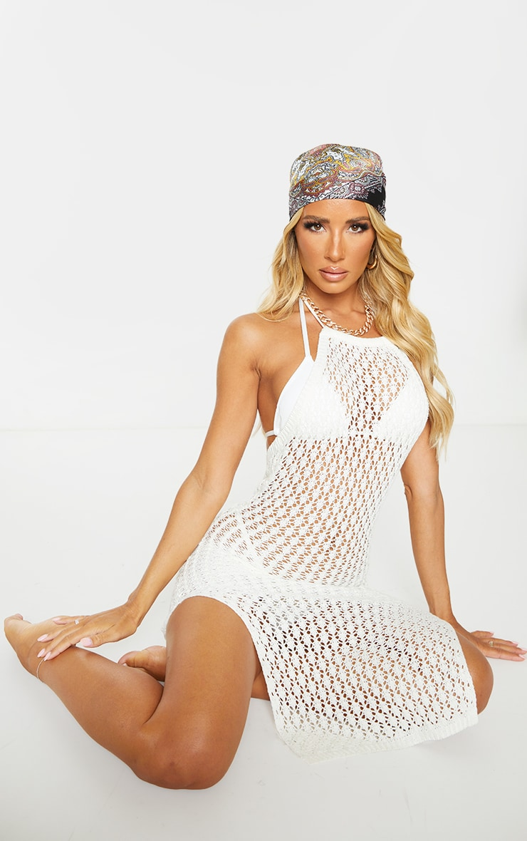 Cream Halterneck Crochet Side Split Midi Dress 1