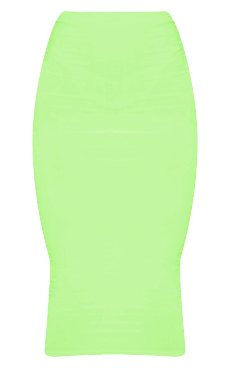 Neon Lime Slinky Midaxi Skirt 3