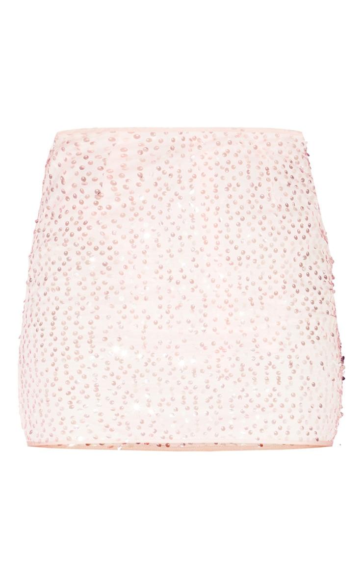 Mini-jupe en mesh rose clair à sequins 3