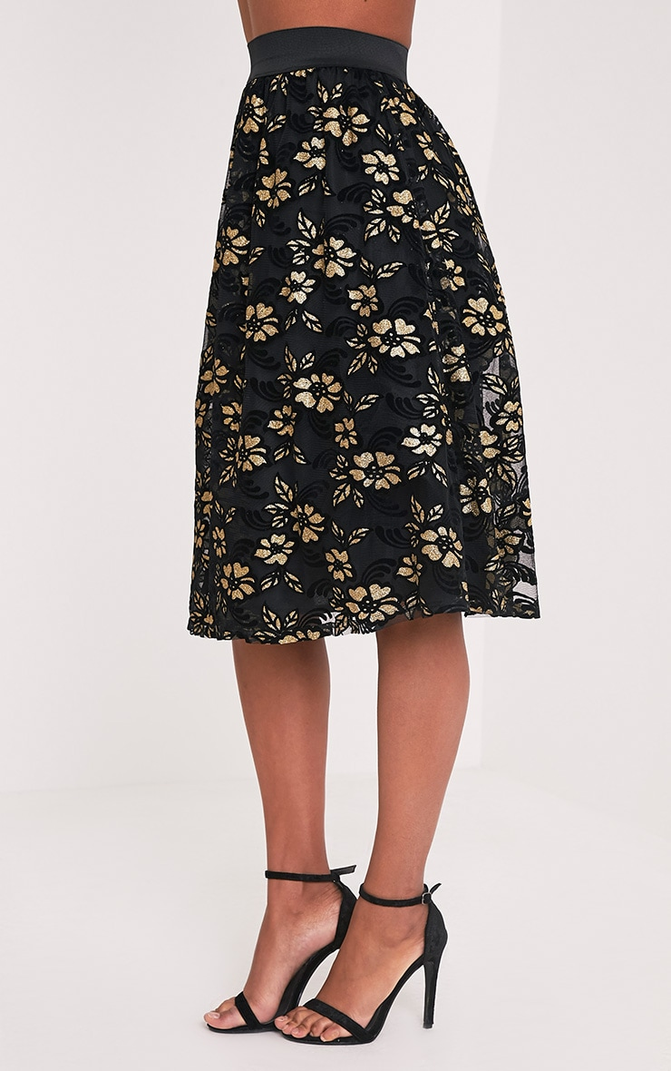 Tilla Black Glitter Floral Tulle Skirt 4