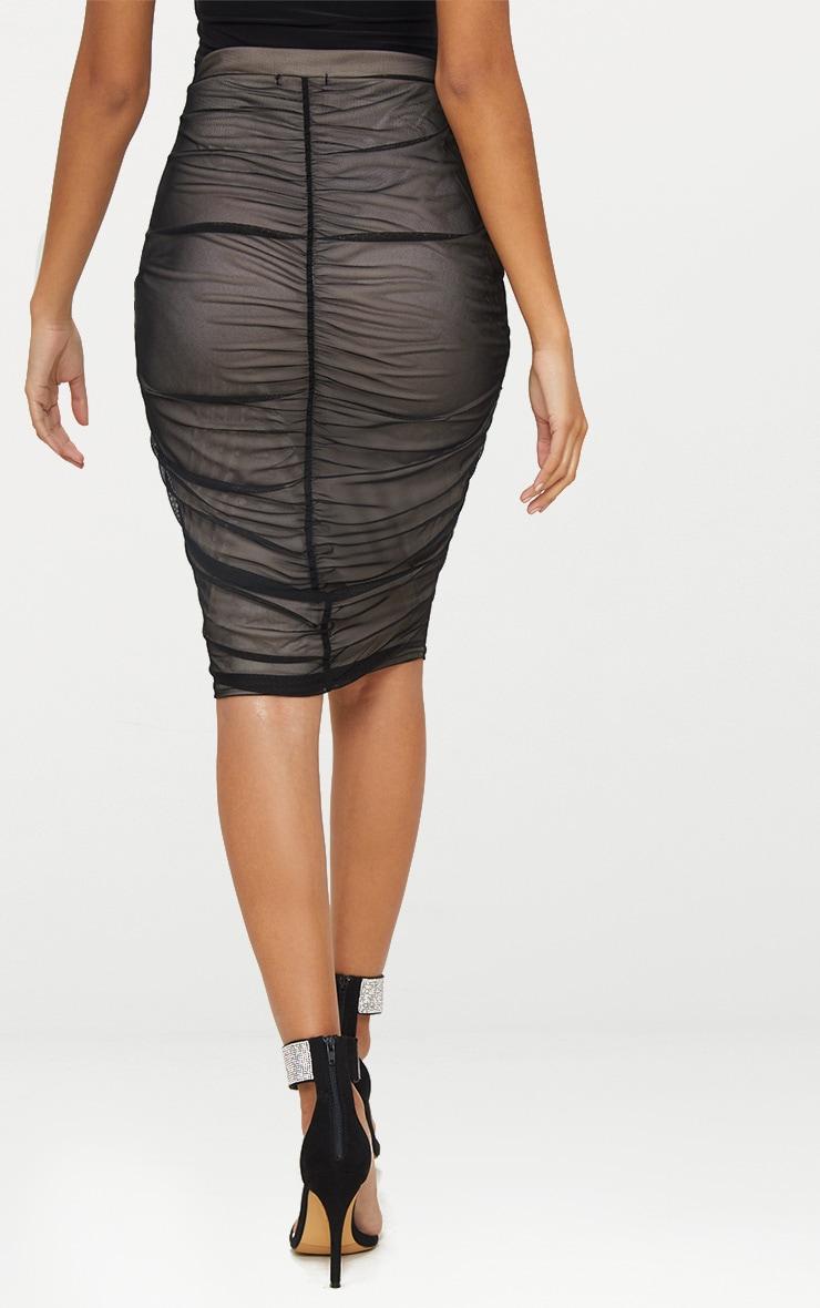 Black Ruched Mesh Midi Skirt 4