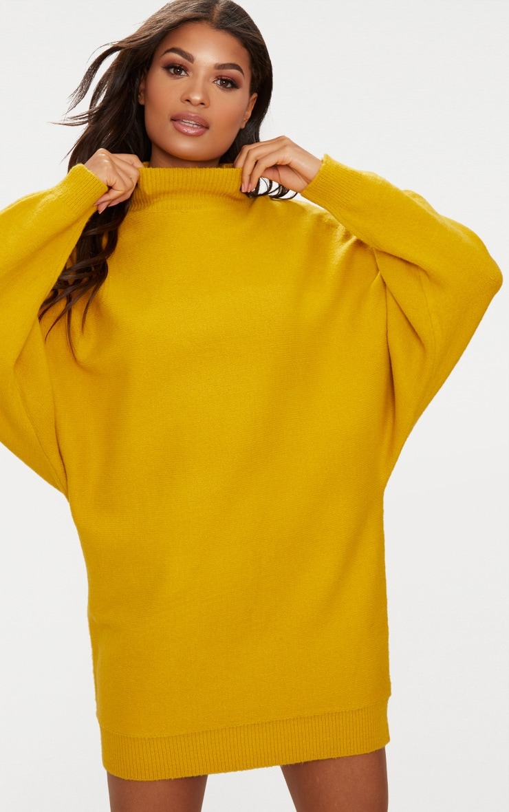 Mustard Oversized Jumper Dress 4
