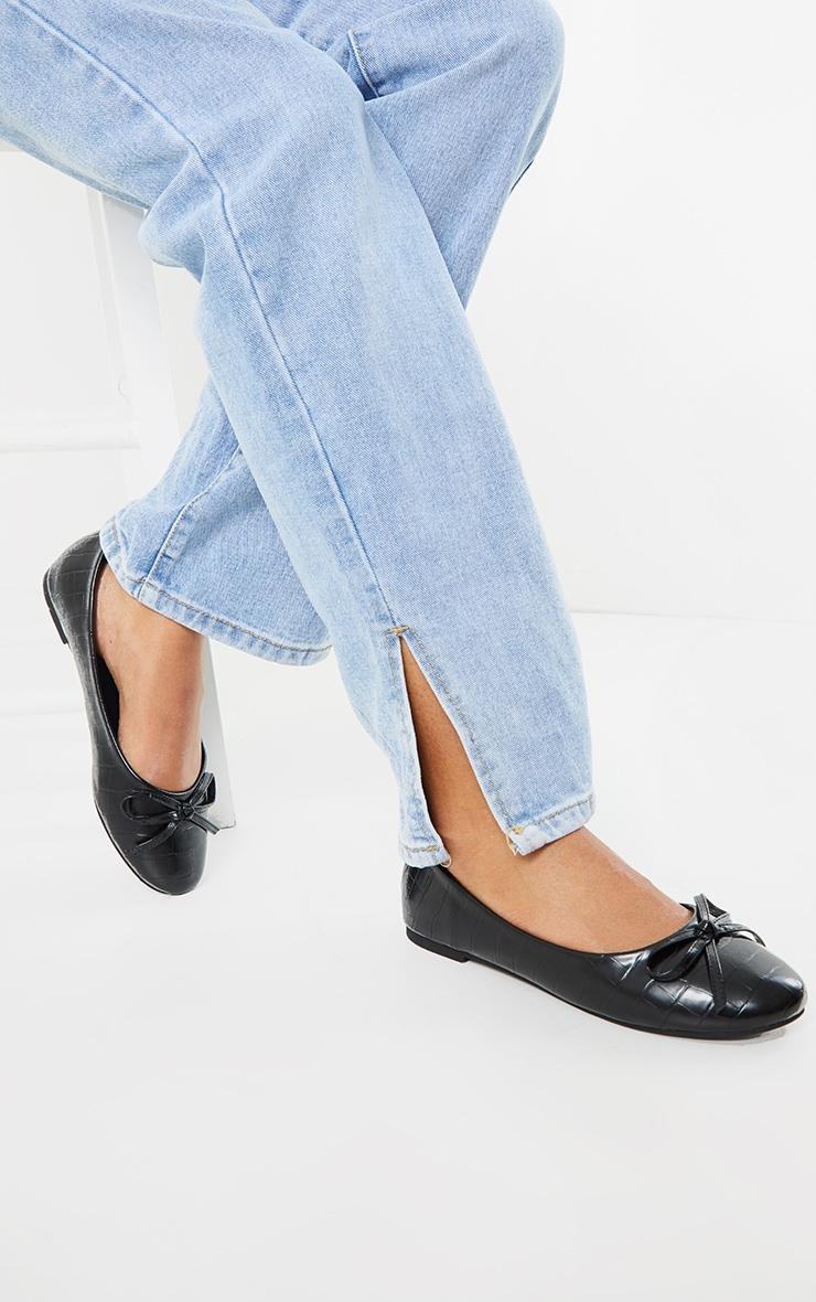 Black Wide Fit Croc PU Round Toe Ballet Shoes 1