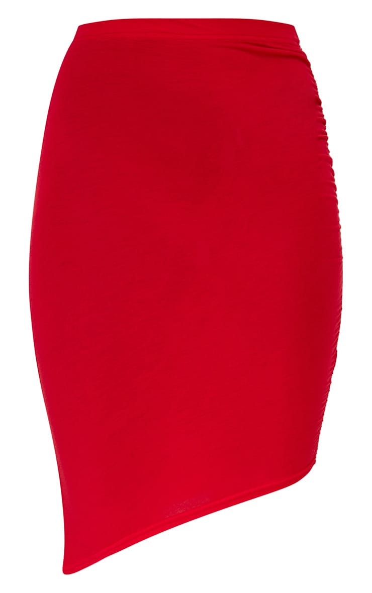 Red Ruched Side Asymmetric Midi Skirt  3
