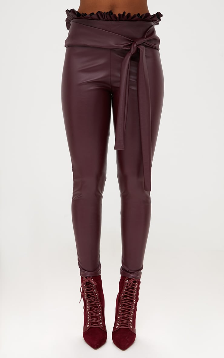 Maroon Faux Leather Paperbag Waist Skinny Trousers 2