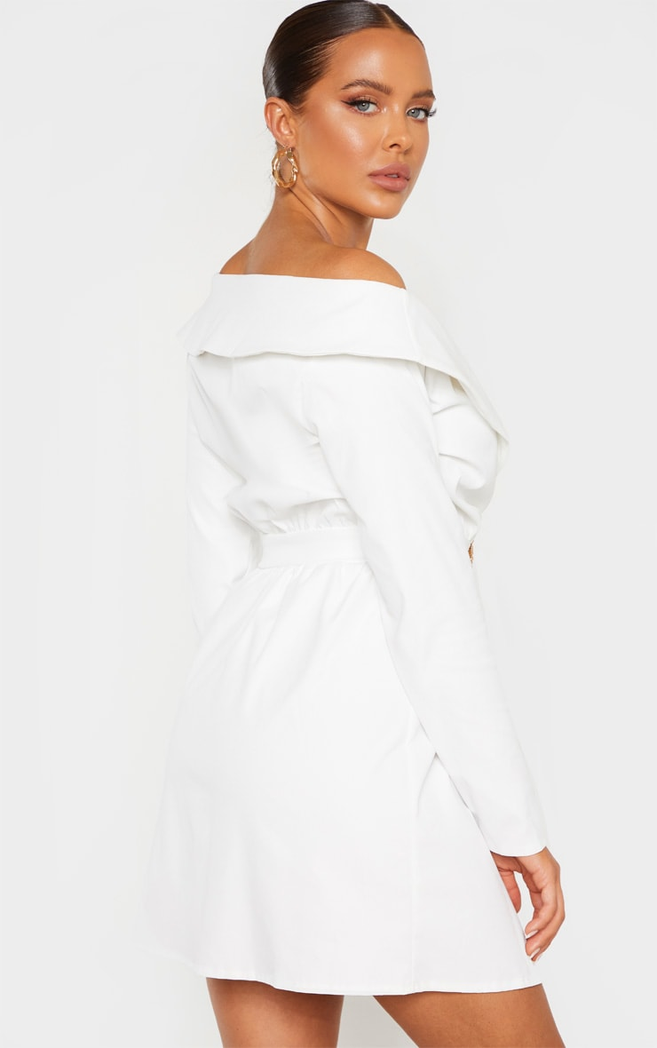 White Bardot Belt Detail Shift Dress 2