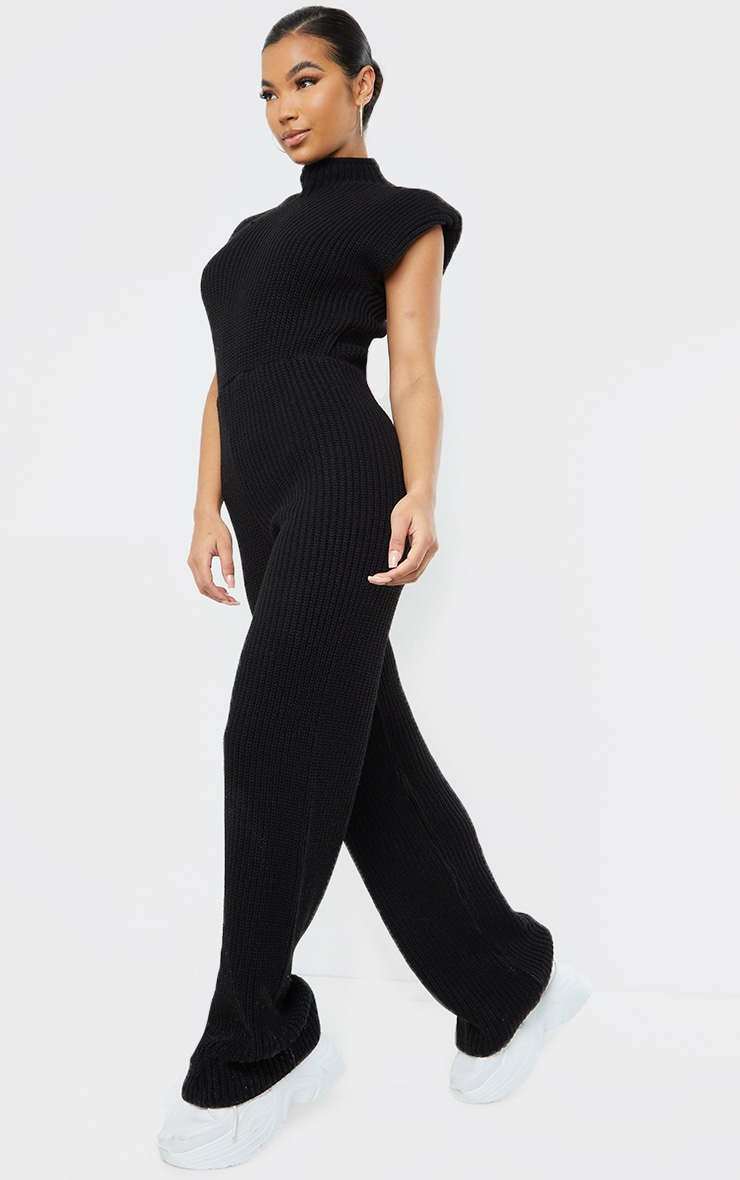 Black Shoulder Pad Knitted Wide Leg Jumpsuit 3