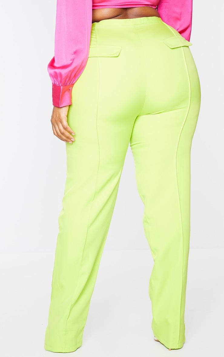 Plus Lime Pocket Back Split Hem Woven Pants 3