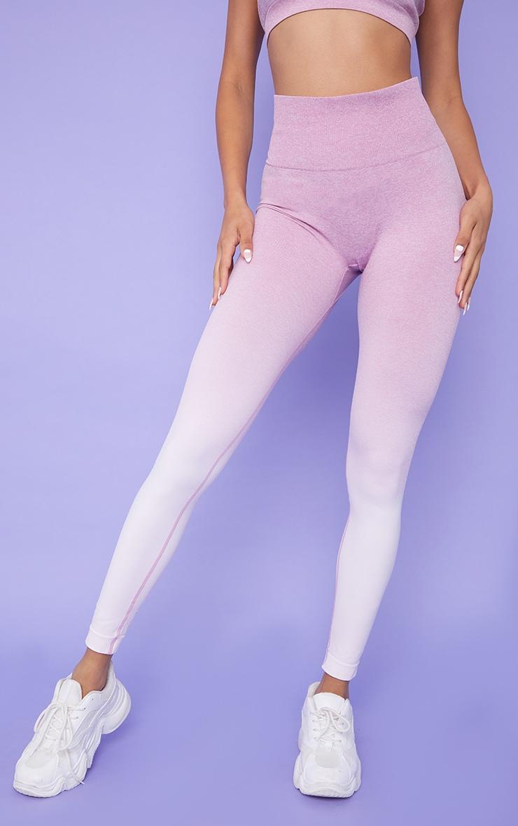 Lilac Ombre High Waist Gym Seamless Leggings 2