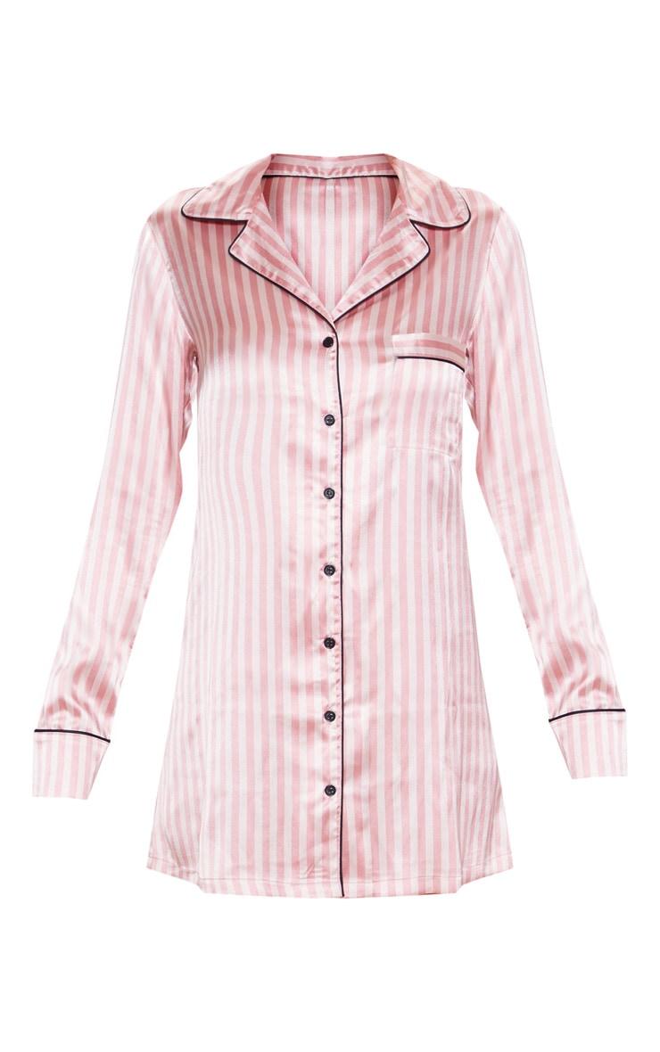 Pink Satin Striped Night Shirt 3