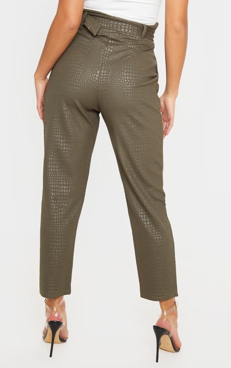 Petite - Pantalon skinny kaki effet croco à ceinture à boucle en D 4