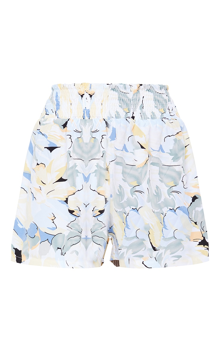 Blue Floral Printed Shirred Waist Floaty Shorts 6