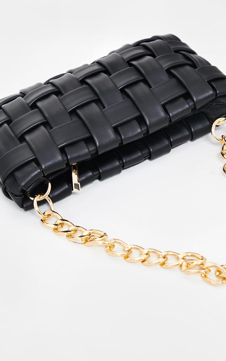 Black Oversized Weave With Gold Chain Shoulder Bag 2