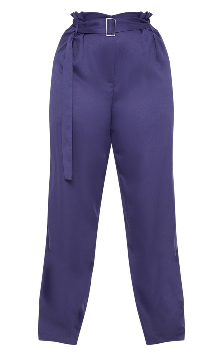 Plus Navy Paper Bag Pleated Wide Leg Trouser 3