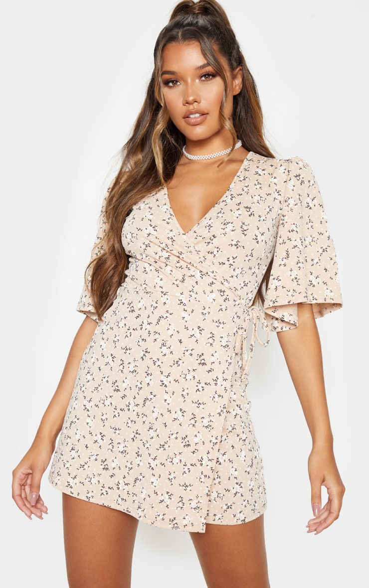Beige Ditsy Floral Tie Wrap Tea Dress 1