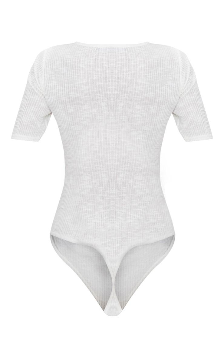 White Soft Rib Tie Front Thong Bodysuit 4
