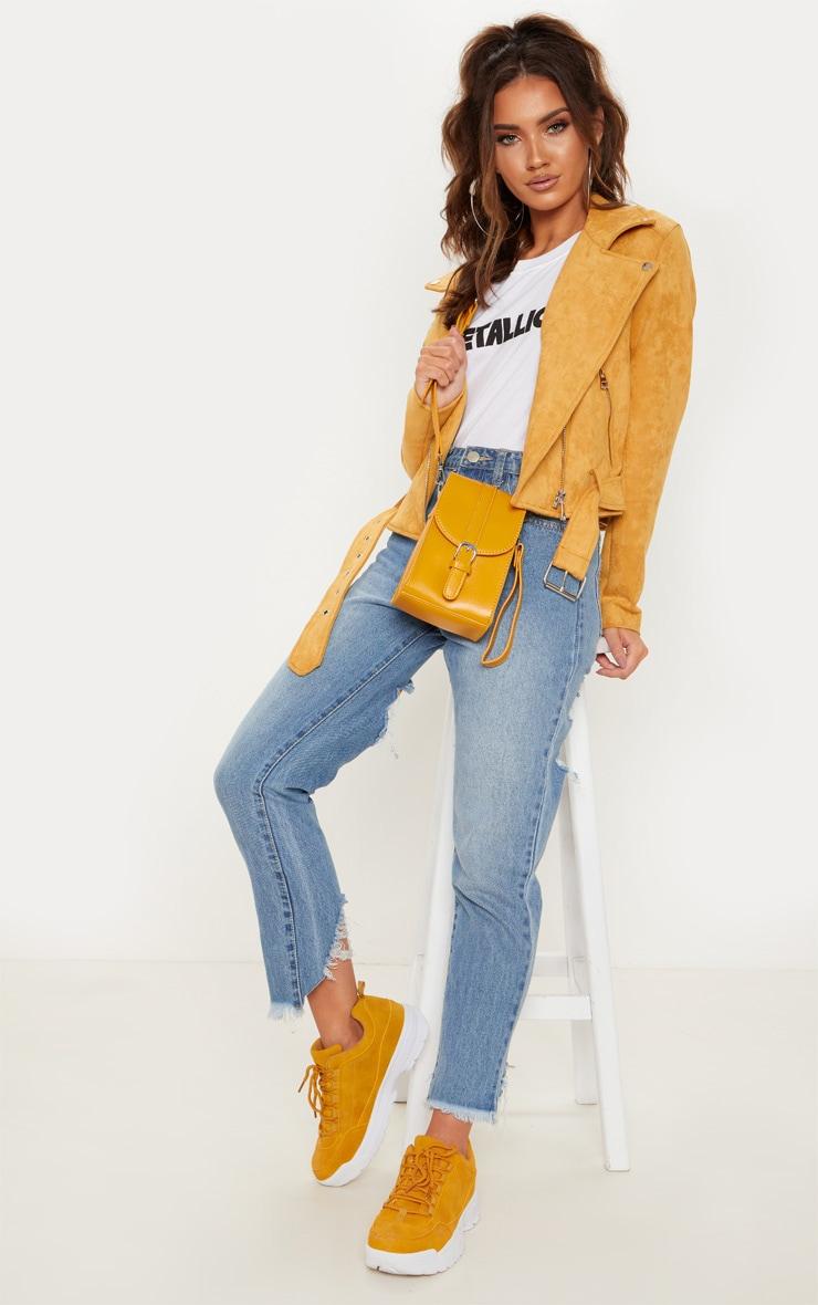 Mustard Faux Suede Biker Jacket 1