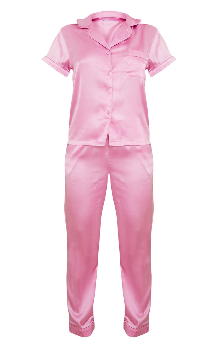 Dusty Pink Satin Short Sleeve Shirt And Trousers Pj Set 5