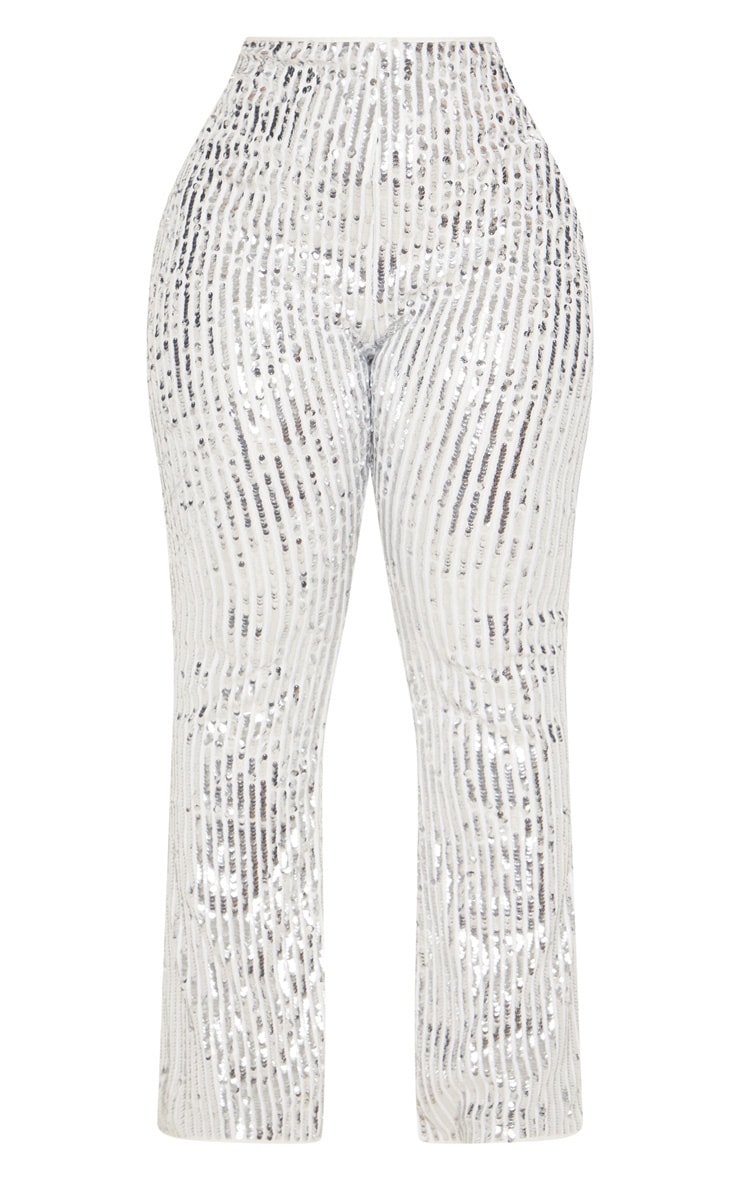 Plus Silver Sequin High Waisted Flare Trousers 4