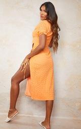 Orange Broderie Anglaise Tie Split Detail Midi Dress 2