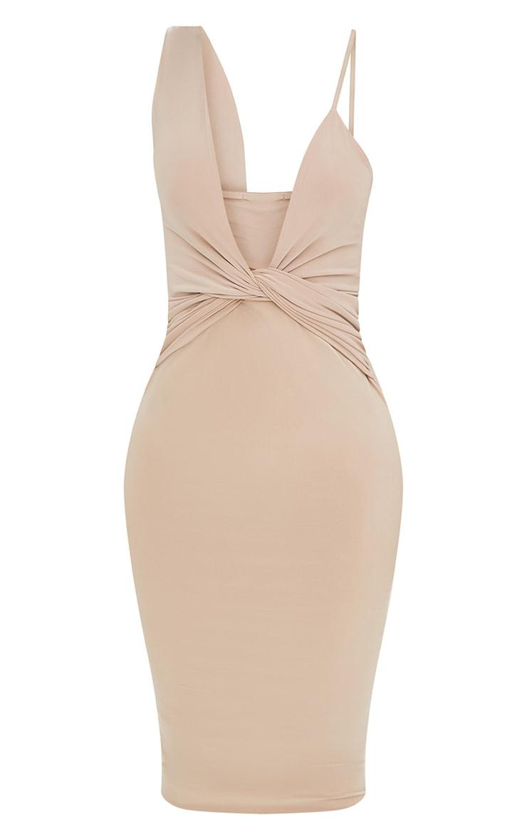 Shape Nude Knot Front Plunge Midi Dress 3