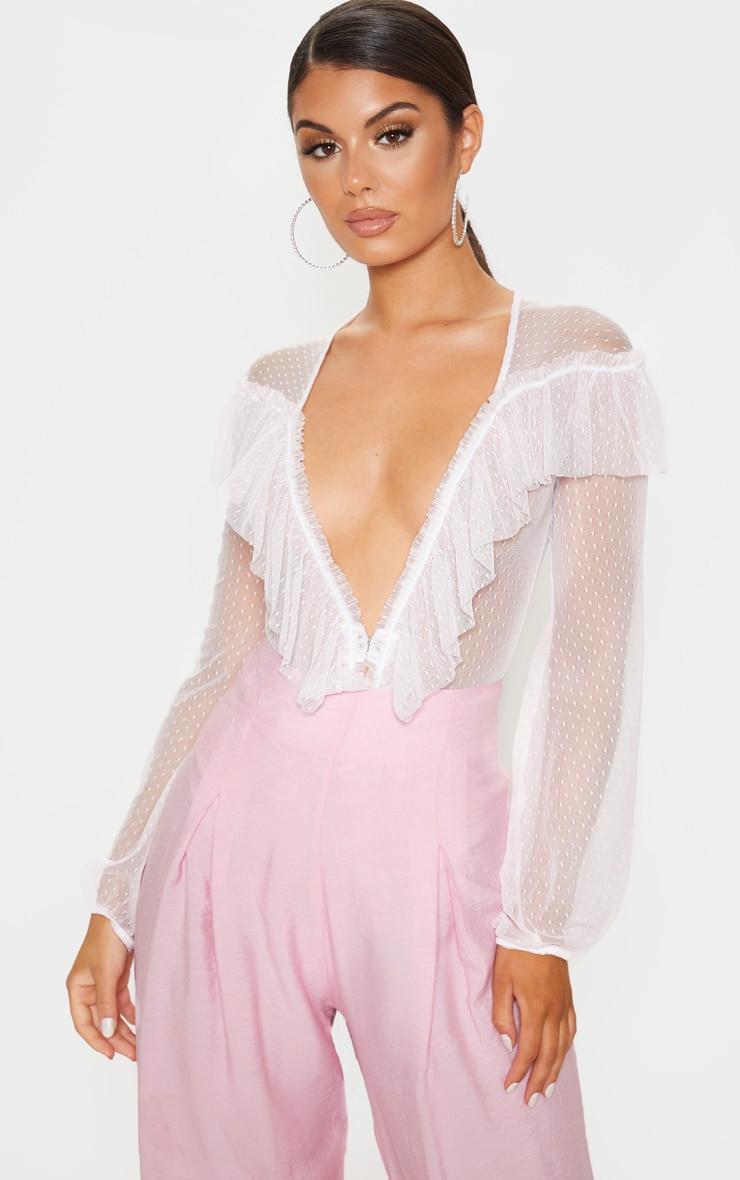 3f7b56942621 Pastel Pink Ruffle Dobby Mesh Plunge Bodysuit | PrettyLittleThing