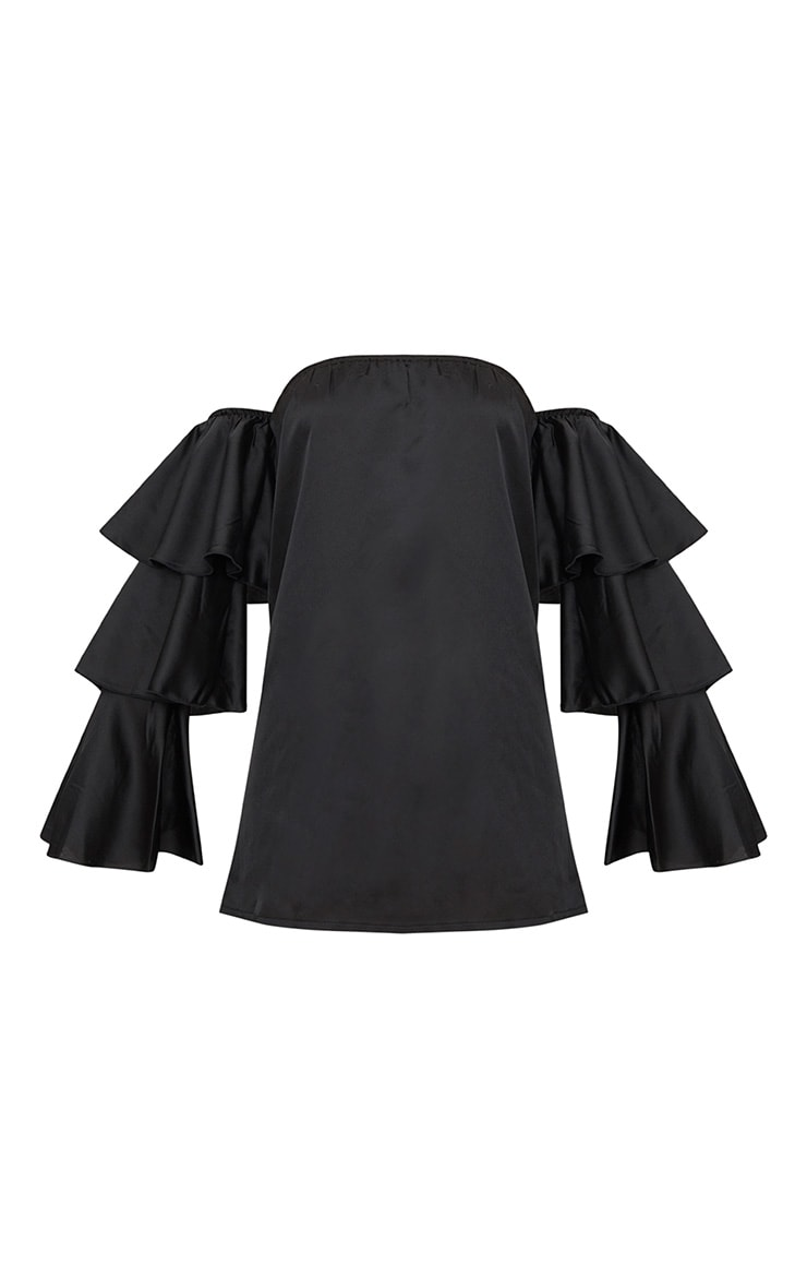 Black Bardot Ruffle Sleeve Satin Shift Dress 3