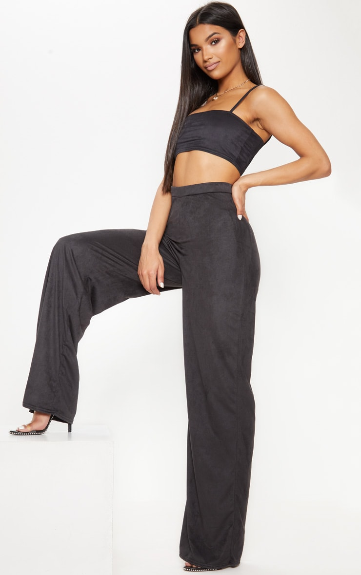 Black Faux Suede Wide Leg Trouser 1