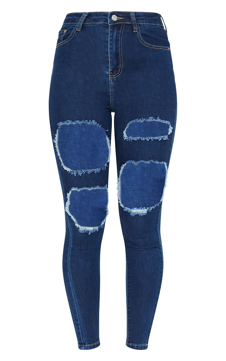 PRETTYLITTLETHING Mid Blue Wash Open Thigh Ripped 5 Pocket Skinny Jeans 5