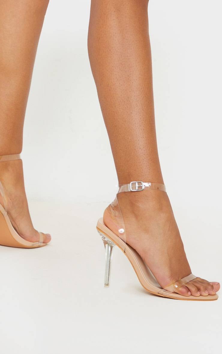 Nude Clear Heel Single Strap Sandal 2