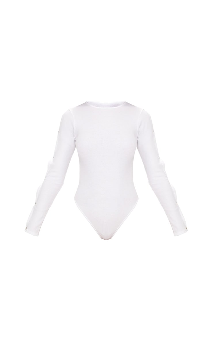 White Popper Long Sleeve Rib Thong Bodysuit  3
