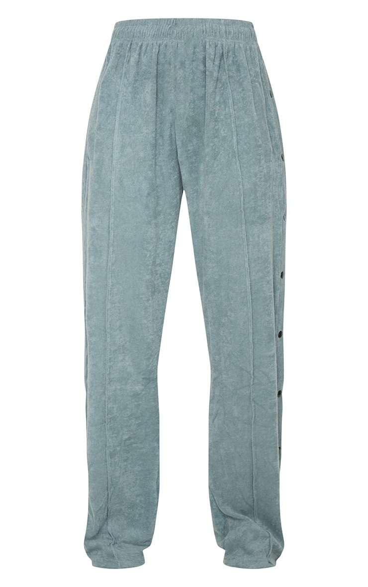 Teal Towelling Popper Side Detail Joggers 5