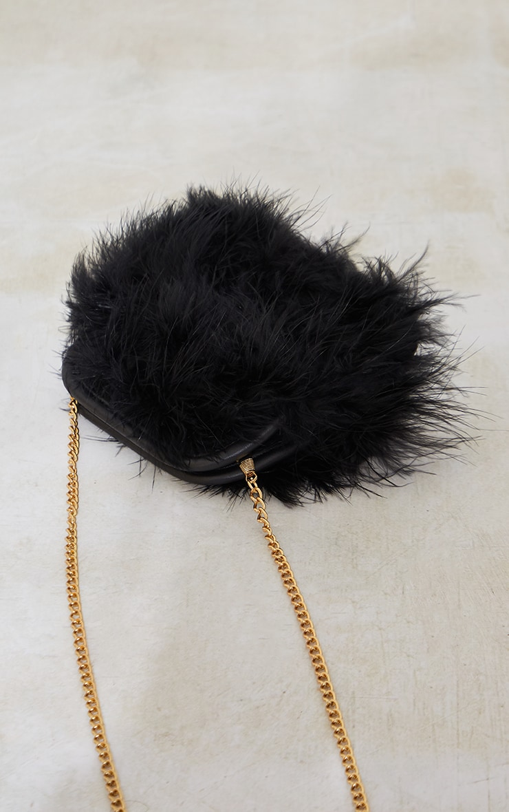 Black Marabou Feather Clutch Bag 4