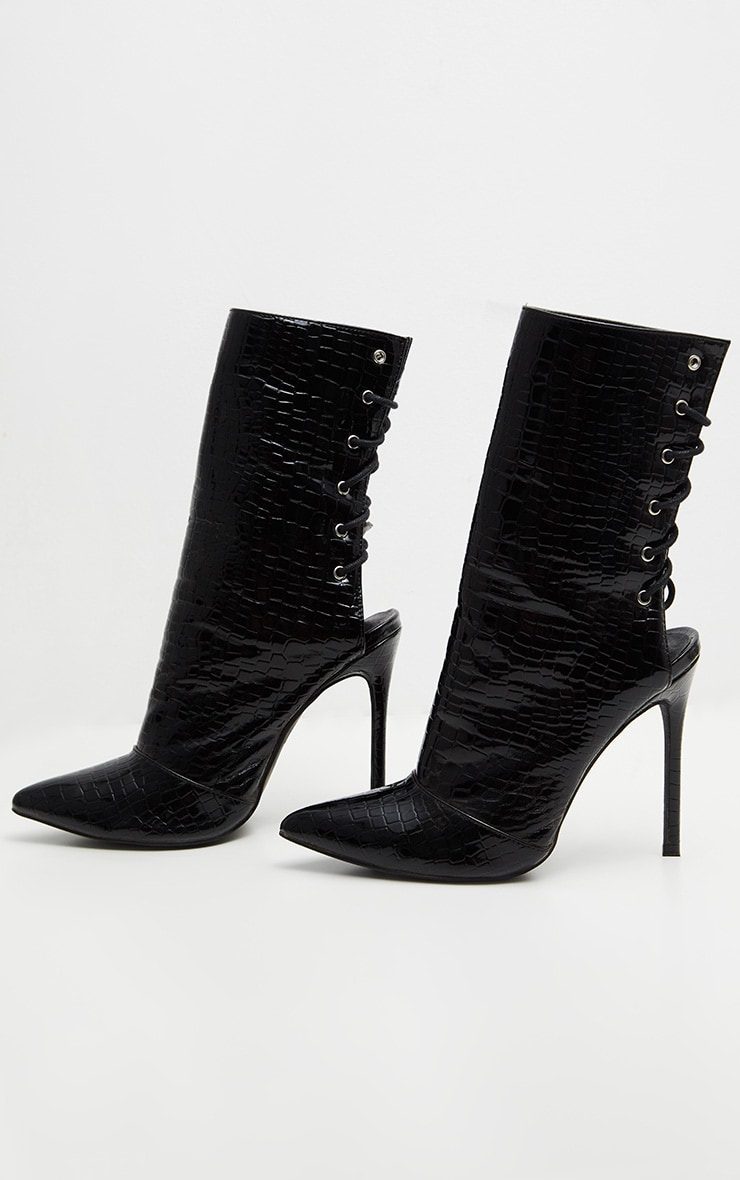 Black Patent Faux Croc Lace Up Back High Boot 3