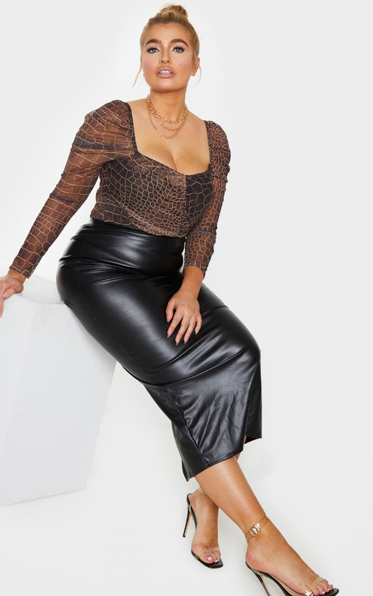 Plus Brown Croc Print Mesh Ruched Front Puff Sleeve Bodysuit 3