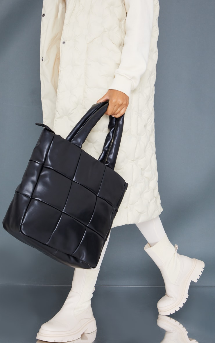 Black Oversized Square Quilted Tote Bag 1