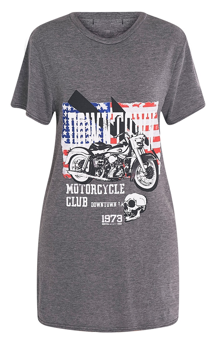 Motorcycle Club Charcoal Printed T Shirt Dress 3