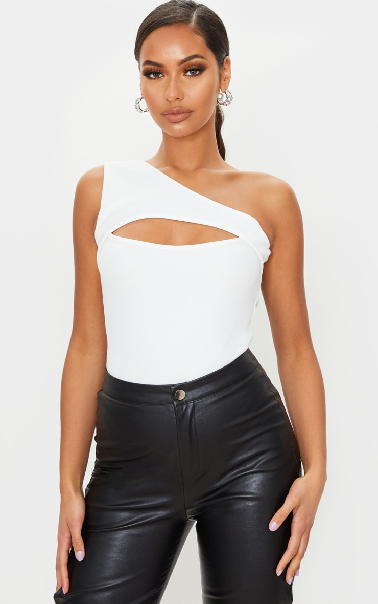 White Structured Rib Cut Out One Shoulder Bodysuit 1