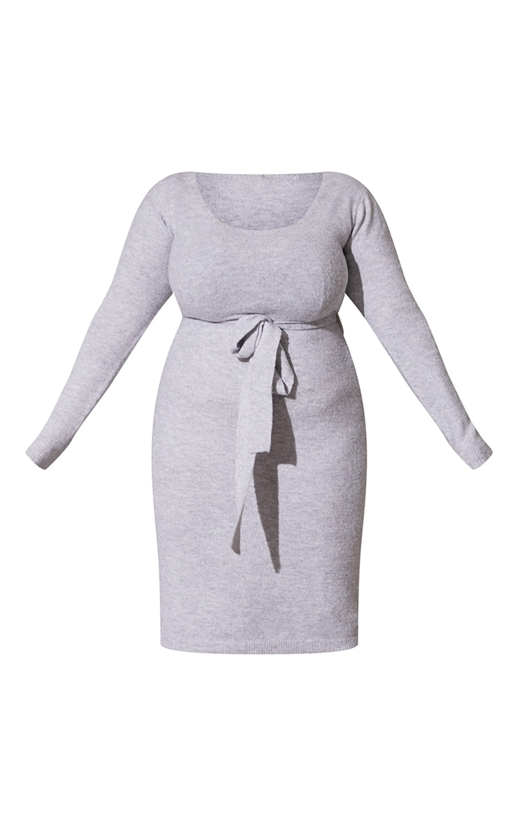Plus Light Grey Recycled Belted Square Neck Knitted Midi Dress 5