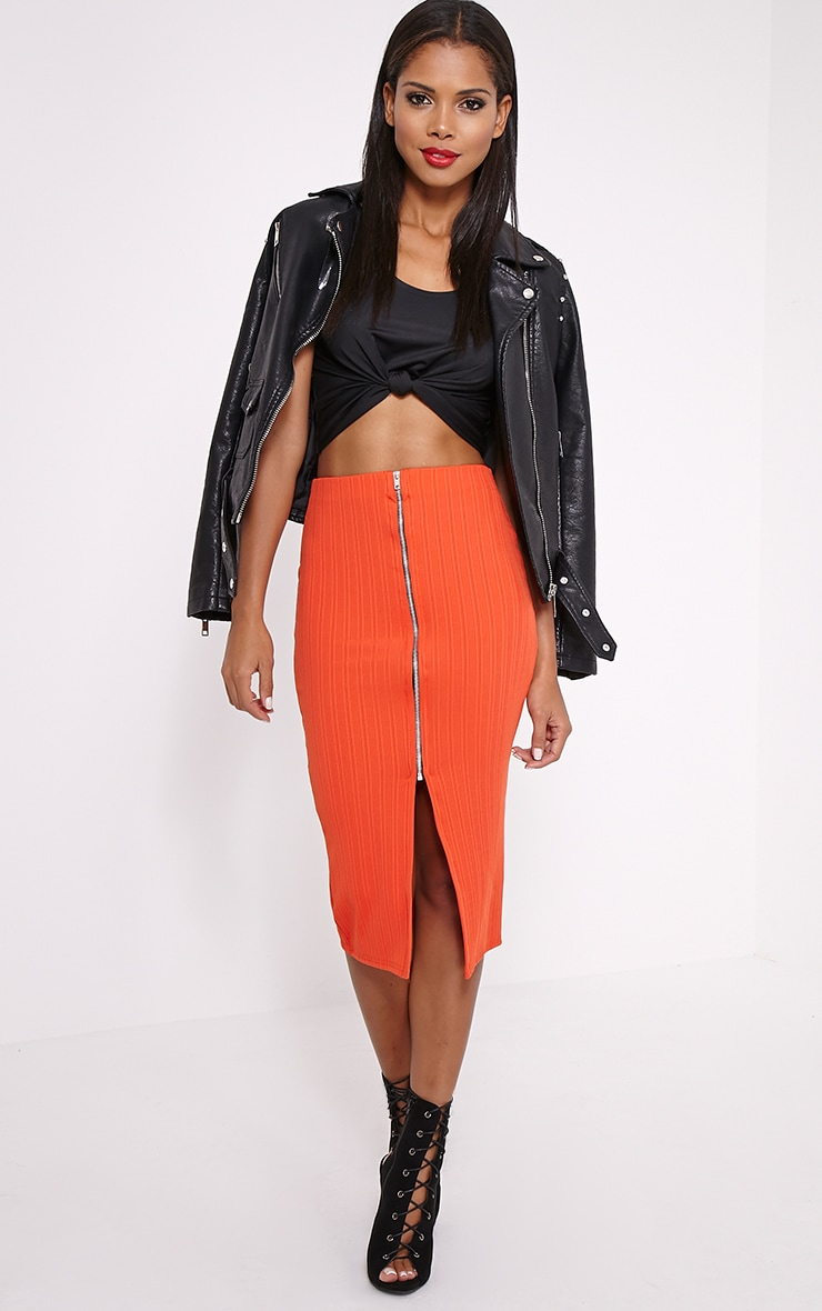 Kaya Orange Ribbed Zip Front Midi Skirt 1