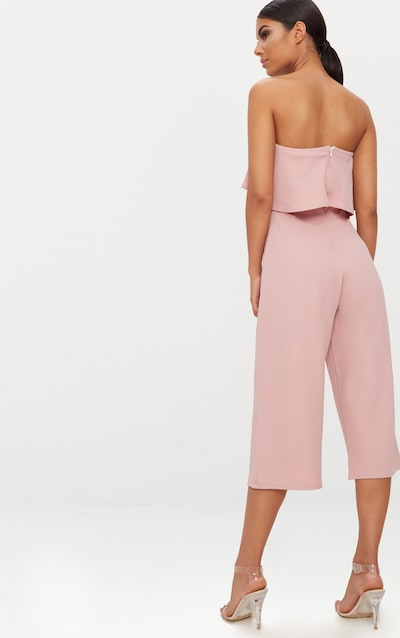 Dusty Pink Bardot Double Layer Culotte Jumpsuit