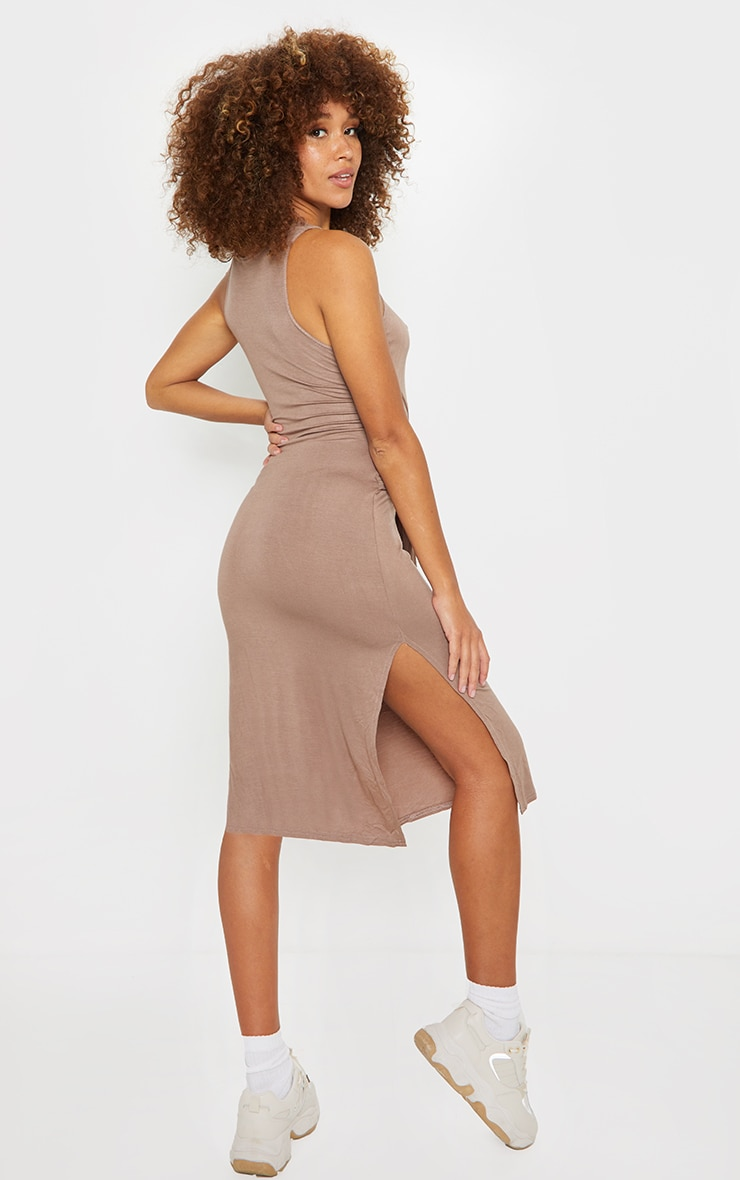 Mocha Tie Waist Midi Bodycon Dress 2
