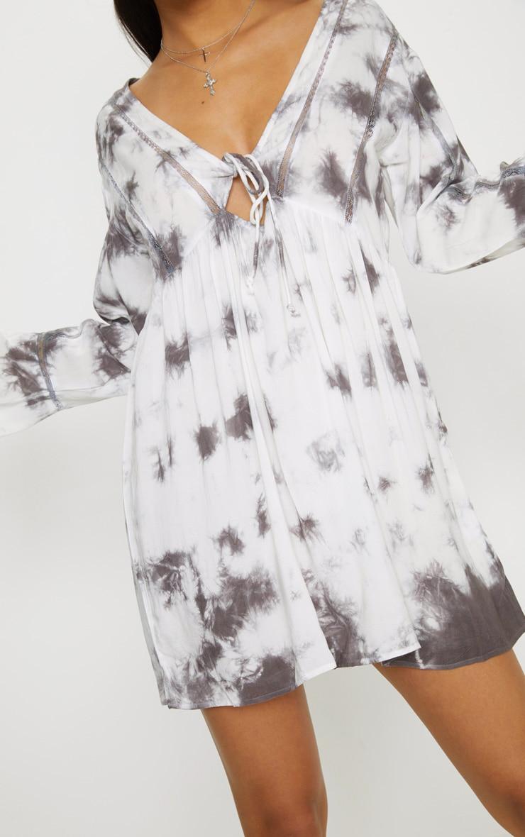 White Tie Dye Flute Sleeve Smock Dress 5