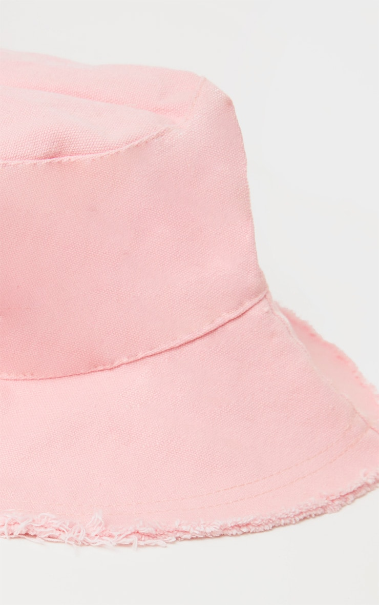 Bob en coton rose à bordure élimée 2